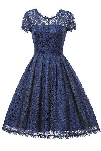Gigileer Elegant Damen Kleider Spitzenkleid Cocktailkleid Knielanges Vintage 50er Jahr hochzeit Party blaue M