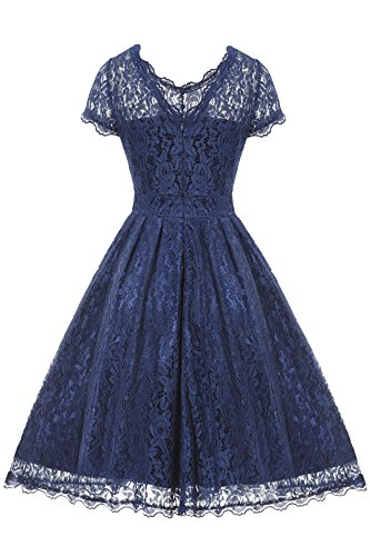 the latest 1c731 e0415 Gigileer Elegant Damen Kleider Spitzenkleid Cocktailkleid Knielanges  Vintage 50er Jahr hochzeit Party blaue M
