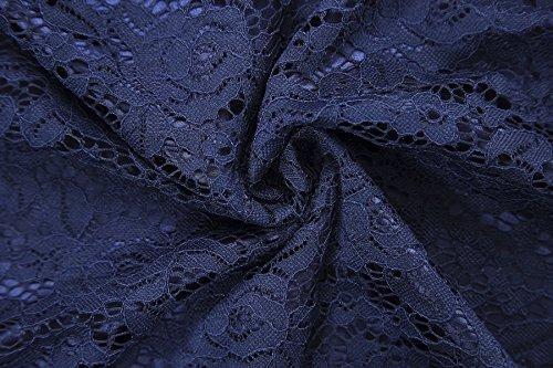 Gigileer Elegant Damen Kleider Spitzenkleid Cocktailkleid Knielanges Vintage 50er Jahr hochzeit Party blaue M - 4