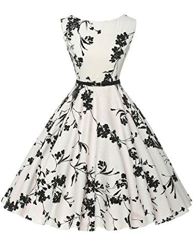 Schoene Blumenmuster festliches Kleid sommerkleid knielang rockabilly kleid L