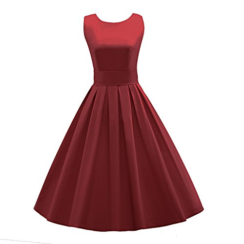 LUOUSE Sommer Damen Ohne Arm Kleid Dress Vintage kleid Junger abendkleid,WineRed,S