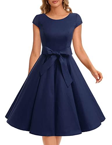 Dressystar Damen Vintage 50er Cap Sleeves Dot Einfarbig Rockabilly Swing Kleider M Marineblau