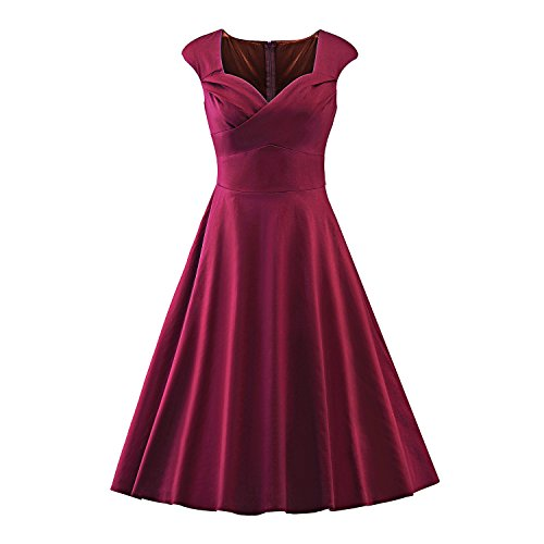 LUOUSE Damen Audrey Hepburn 50s Retro Vintage Bubble Skirt Rockabilly Swing Evening Kleider,WineRed,L
