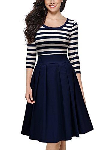 Miusol Damen Vintage 1950er Streifen Rund Ausschnitt 3/4 Arm Retro Schwingen Pinup Rockabilly Kleid Navy Blau Gr.M