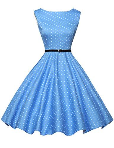 Damen rockabilly kleid 50s vintage sommerkleid polka dots audrey hepburn kleid cocktailkleider S