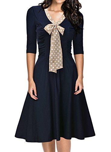 Miusol Damen V-Ausschnitt Schleife Cocktailkleid Faltenrock 50er 60er Jahr Party Stretch?Kleid Blau Gr.S