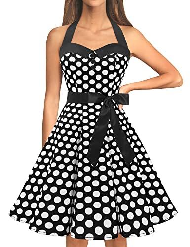 Dressystar Vintage Tupfen Retro Cocktail Abschlussball Kleider 50er 60er Rockabilly Neckholder Schwarz Weiß Dot M