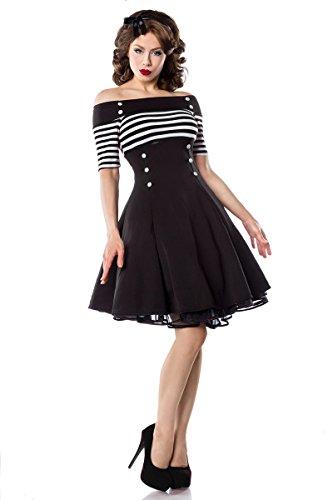 Schulterfreies Vintage-Kleid mit dekorativen Knöpfen und kurzen Ärmeln (Schwarz/Weiß/Stripe, Gr. M)