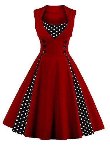 VKStar® Vintage 50er elegantes Abendkleid mit Knöpfe Rockabilly Swing Cocktailkleid Weinrot M