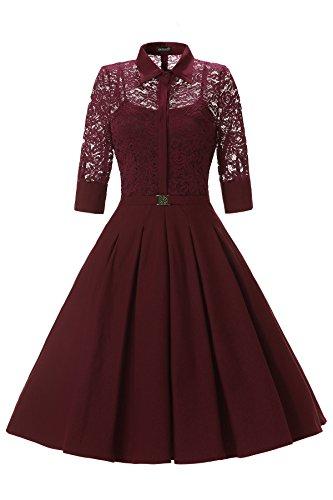 Gigileer Elegant Damen Kleider Spitzenkleid Cocktailkleid Winter Knielanges 3/4 Arm festlich hochzeit Burgundy L