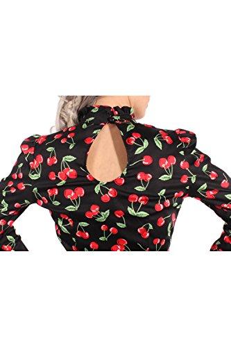 SugarShock Damen 50s Cherry Rockabilly Puffärmel Stehkragen Kirschen langarm Bluse XXL -