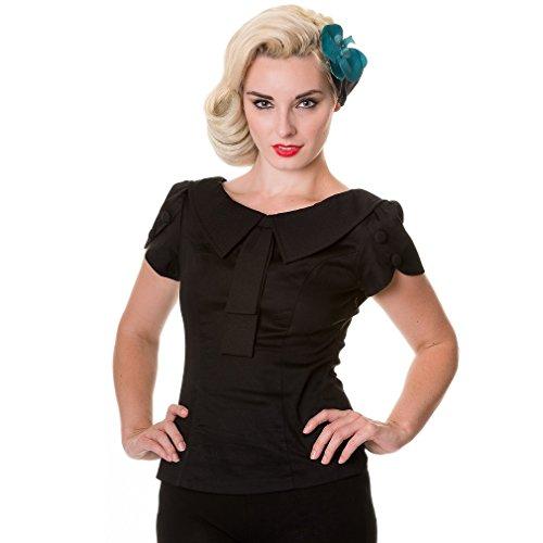 Banned Damen Retro Bluse Schleife und Zierknöpfe - Collar & Tie Rockabilly Oberteil Schwarz (XS)