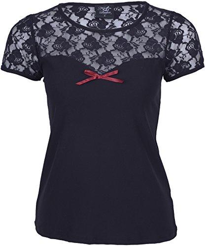 Küstenluder CAYLA Nostalgic Floral Lace Vintage Red Bow Shirt Rockabilly