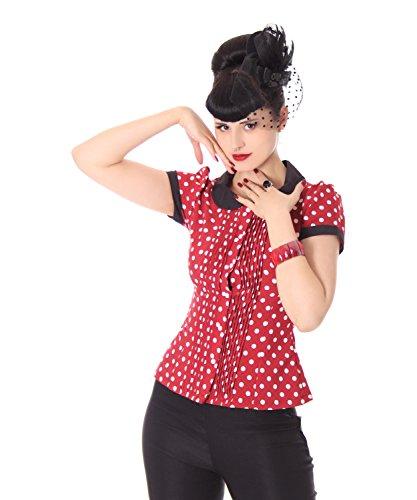 8026a135561bc1 SugarShock Leonice 50er retro Bubikragen Polka Dots Rockabilly Plissee Puffärmel  Bluse