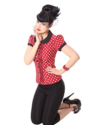 7caf2c23500f5c SugarShock Leonice 50er retro Bubikragen Polka Dots Rockabilly Plissee Puffärmel  Bluse -