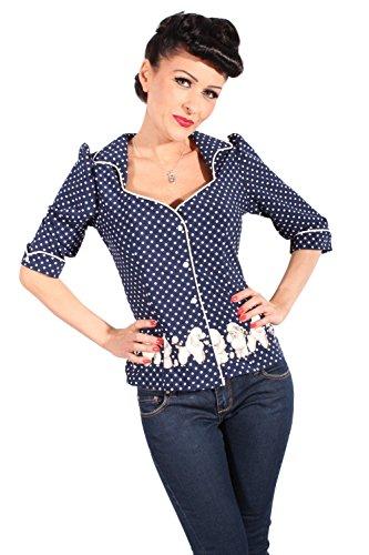 SugarShock Damen Polka Dots Retro Rockabilly Puffarm Pudel Punkte 3/4arm Bluse blau S