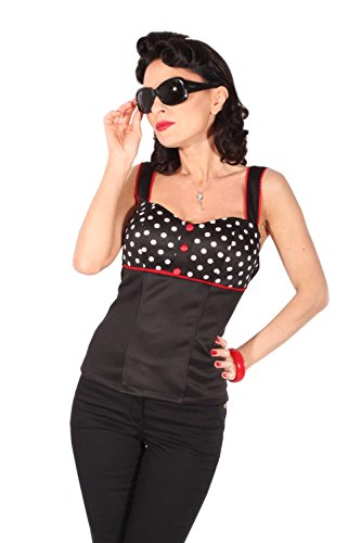 Polka dots rockabilly pin up Punkte Corsage Träger TOP Shirt incl Pads