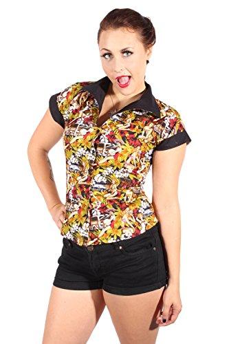 SugarShock Damen Hibiskus Blüten DINER Style PIN UP retro rockabilly Hawaii Hemd Bluse M