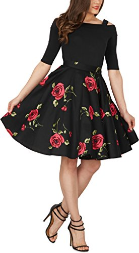 Black Butterfly Floral Rockabilly 1950er-Jahre Swing Tellerrock (Schwarz – Große Rote Rosen, EUR 46 – XXL) - 5