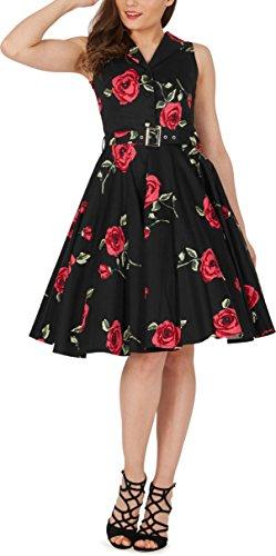 Black Butterfly 'Luna' Retro Infinity Kleid im 50er-Jahre-Stil (Große Rote Rosen, EUR 36 - XS)