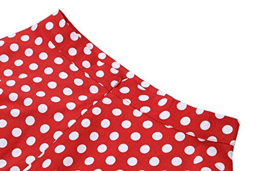 Gigileer Damen 50er Jahre Art Rock Vintage Rockabilly Swing Faltenrock Knielang rot mit weiss Gepunkt M - 2