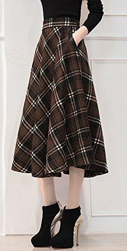 355daf26dbca2d Tribear Damen Vintage Winter Herbst tartan mit hoher Taille flared röcke  knielange Kleider (3XL/