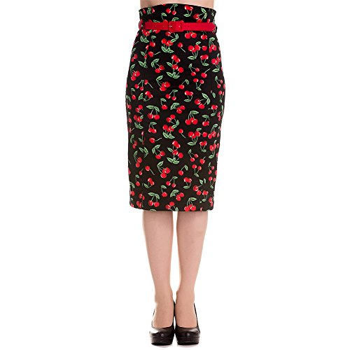 Hell Bunny CHERRY Pop Kirschen 50s Retro PENCIL Skirt / Rock Rockabilly