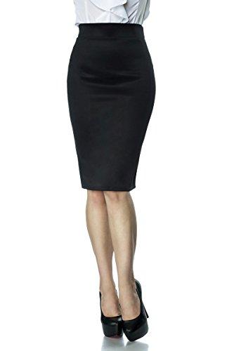 Knielanger Pencilrock mit hoher Taille (S, Schwarz)