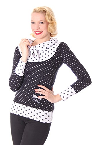 SugarShock Madlen Polka Dots 50er retro Pin Up Rockabilly Schalkragen Longsleeve Shirt