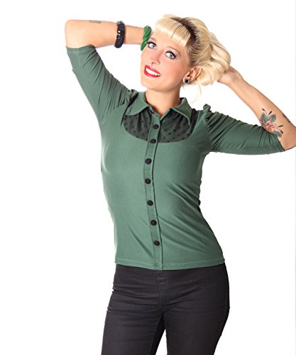 SugarShock Letizia 50s retro Pin Up 3/4 Arm Shirt Longsleeve schlicht