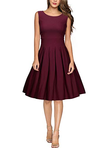Miusol Damen Elegant Rundhals Traegerkleid 1950er Retro Cocktailkleid Faltenrock Kleid weinrot Groesse S