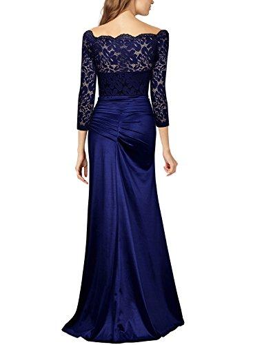 free shipping 9f211 e540b Miusol Damen Elegant Cocktailkleid Spitzen Vintage Kleid Off Schulter  Brautjungfer Langes Abendkleid Dunkelblau Gr.S