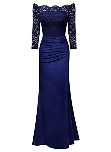 4784af155531a9 Miusol Damen Elegant Cocktailkleid Spitzen Vintage Kleid Off Schulter  Brautjungfer Langes Abendkleid Dunkelblau Gr.S