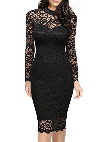8046fb84932e9f Miusol Damen Spitzen Cocktailkleid Elegant Abendkleid Brautjungfer  Ballkleid Rundhals Langarm Stretch Kleider