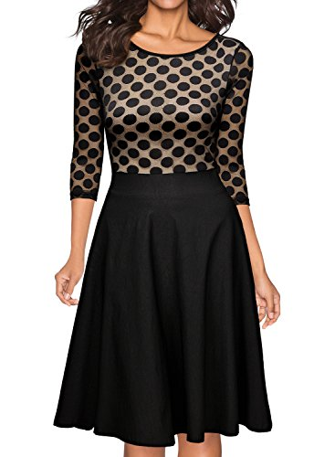 Miusol Damen Elegant Abendkleid Vintag 50er Kleider mit Polka Dots und Spitzen