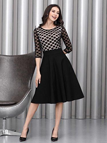 Miusol Damen Elegant Abendkleid Vintag 50er Kleider mit Polka Dots und Spitzen - 5