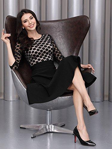 Miusol Damen Elegant Abendkleid Vintag 50er Kleider mit Polka Dots und Spitzen - 6