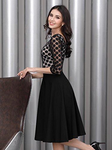 Miusol Damen Elegant Abendkleid Vintag 50er Kleider mit Polka Dots und Spitzen - 7