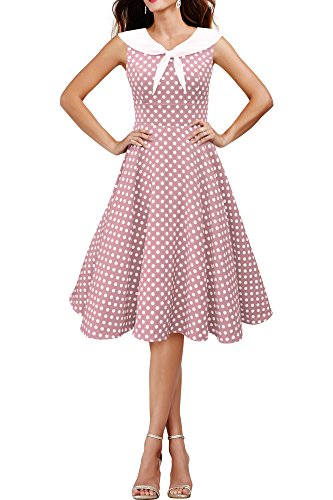 'Clio' 50's Polka-Dots Kleid mit besetztem Ausschnitt