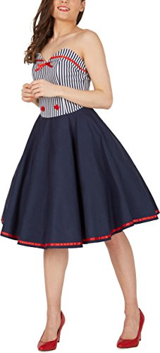 'Naomi' Vintage Marine Kleid im 50er-Jahre-Stil - 5