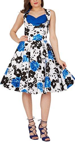 Black Butterfly 'Aura' Classic Serenity Kleid im 50er-Jahre-Stil (Weiß & Blau, EUR 36 - XS)