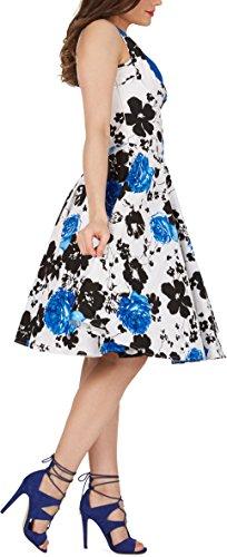 Black Butterfly 'Aura' Classic Serenity Kleid im 50er-Jahre-Stil (Weiß & Blau, EUR 36 – XS) - 2