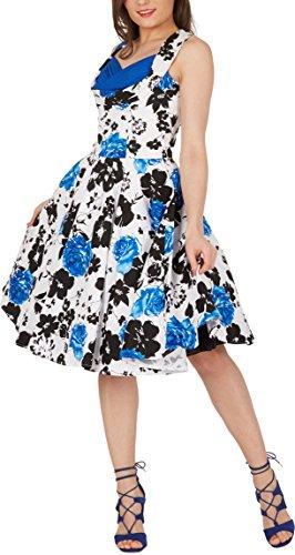 Black Butterfly 'Aura' Classic Serenity Kleid im 50er-Jahre-Stil (Weiß & Blau, EUR 36 – XS) - 4