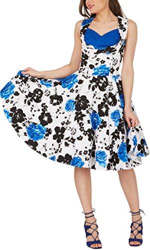 Black Butterfly 'Aura' Classic Serenity Kleid im 50er-Jahre-Stil (Weiß & Blau, EUR 36 – XS) - 5