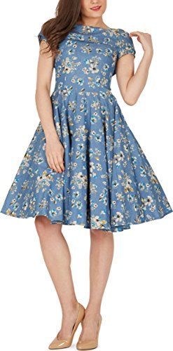 BlackButterfly 'Serena' Vintage Eden Kleid im 50er-Jahre-Stil (Denim, EUR 50 - 4XL)