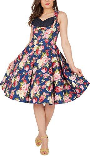 Black Butterfly 'Aura' Classic Divinity Kleid im 50er-Jahre-Stil (Nachtblau, EUR 52 - 5XL)
