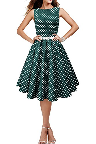 Black Butterfly 'Audrey' Vintage Polka-Dots Kleid im 50er-Jahre-Stil (Blaugrün, EUR 50 - 4XL)