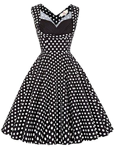 Frauen 50s Retro A-Linie Baumwolle Partykleid Mode 1950er M CL008901-11