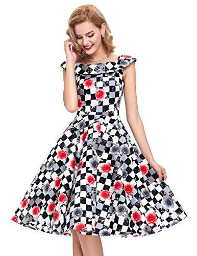 Damen Petticoat Kleider 50er Festliche Kleider Knielang XL BP044-2 -