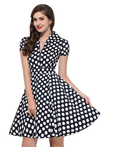 Mode Elegant Attraktive Sommerkleid Partykleid Knielang 100% Cotton L CL6089-1